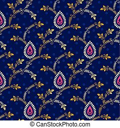 Paisley seamless pattern on blue background
