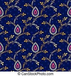 Paisley seamless pattern on blue background