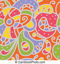 Paisley seamless whimsical pattern in bright colors