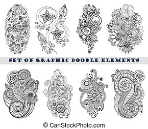 paisley, set, scarabocchiare, henné, mehndi, element.
