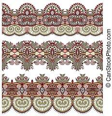 paisley, set, seamless, model, streep, ethnische , floral rand