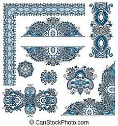 paisley, set, versiering, communie, ontwerp, floral, pagina