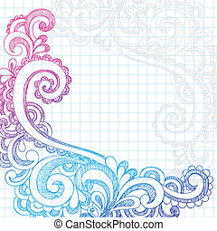 Hand-Drawn Abstract Flower Paisley Sketchy Notebook Doodles Edge Border Design Element on Lined Paper Background- Vector Illustration