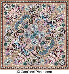 paisley, skwer, bez, pattern., wektor, bandana, print.