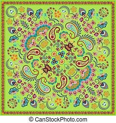 paisley, skwer, pattern., wektor, bandana, green., print.
