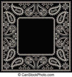 paisley, square., clássicas, impressão, bandana, design-