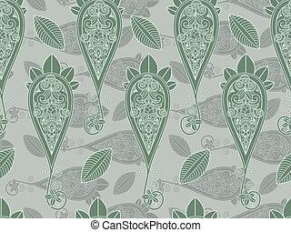 paisley, vecteur, vert, seamless