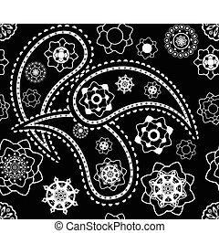 paisley, vector, model, zwart-wit, seamless, indiër, retro