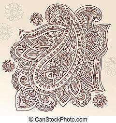paisley, vector, ontwerp, henna, mehndi