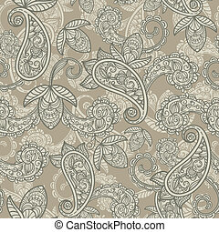 paisley, vector, seamless, achtergrond