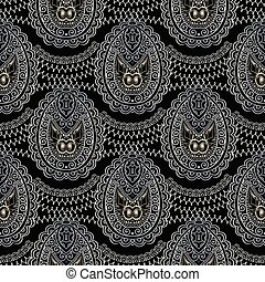 Paisley vector seamless pattern.