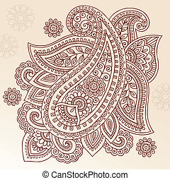 paisley, vektor, design, henna, mehndi