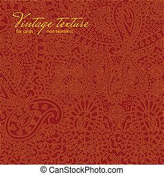 paisley, vindima, textura, desenho, cartões, vermelho