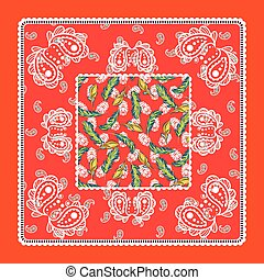 paisley, wektor, czerwony, bandana, jedwabny szalik, design.
