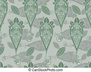 paisley, wektor, zielony, seamless