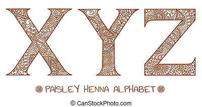 paisley, y, x, alphabet, henné, z