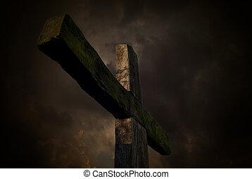 paixão, crucifixos, e, céu escuro