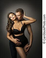 paixão, par, homem, beijo, amor, sensual, panties, mulher, roupa interior, retrato, sexo, excitado