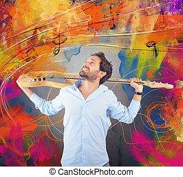 paixão, para, guitarra