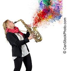 paixão, para, música
