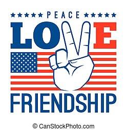 paix, amour, et, amitié, amérique