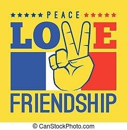 paix, amour, et, amitié, france