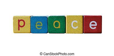 paix, bloc, enfants, lettres