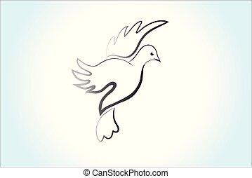 paix, colombe, image, voler, ciel, vecteur, logo, religieux, oiseau