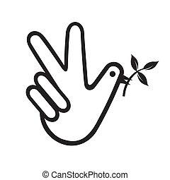paix, colombe, main