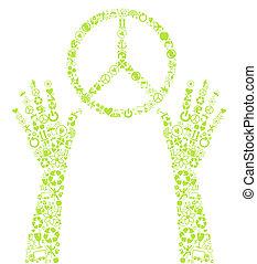 paix, eco, vecteur, fond, signe