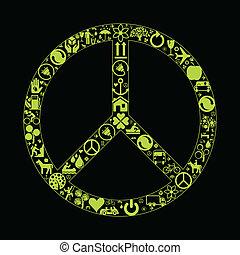 paix, eco, vecteur, fond