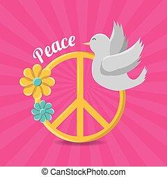 paix, et, amour, hippie, concept