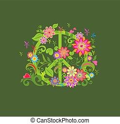 paix, fleur, mode, chemise, hippie, fond, symbole, impression, t, kaki