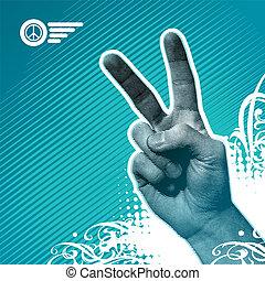 paix, -, illustration, main, vecteur, signe