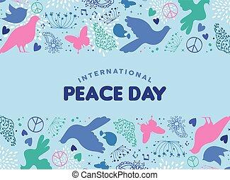 paix, jour, décoration, mondiale, colombe, oiseau, carte, icône
