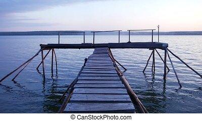 paix, lac, tranquility., bois, shore., jetée, twilight.