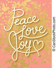 paix, lettrage, style, feuille, or, doré, brillant, ...