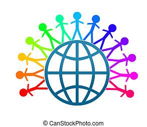 paix mondiale, art, agrafe, colorfull