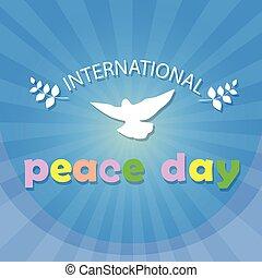paix mondiale, jour, affiche, colombe blanc, oiseau, symbole