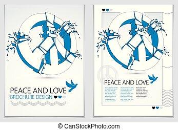 paix, morceaux, protestation, conflicts., démonstration, paix, 60s, aviateur, antiwar, rupture, réunion, 3d, pacifists, symbole, illustration, cassé, hippies, aimer, contre, réaliste, vecteur, militaire