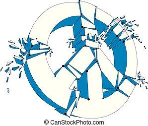 paix, morceaux, protestation, démonstration, paix, 60s, antiwar, rupture, réunion, 3d, pacifists, symbole, cassé, maille, conflits, hippies, aimer, killings., illustration, contre, vecteur, militaire