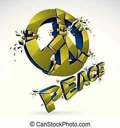 paix, morceaux, protestation, démonstration, paix, 60s, antiwar, rupture, réunion, 3d, pacifists, symbole, cassé, conflits, hippies, aimer, killings., illustration, contre, réaliste, vecteur, militaire
