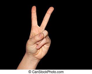 paix, noir, isolé, signe victoire