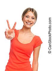 paix, victoire, geste, ou