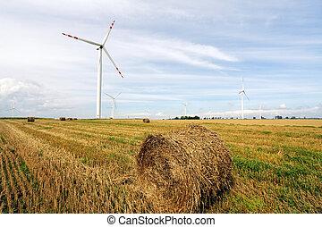 paja, balas, y, enrolle turbinas, granja