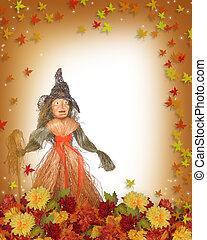 paja, bruja de halloween, plano de fondo