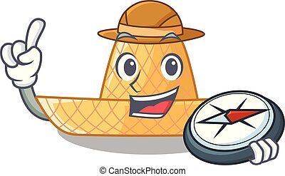 paja, de madera, sombrero, explorador, caricatura