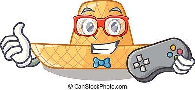 paja, de madera, sombrero, gamer, caricatura
