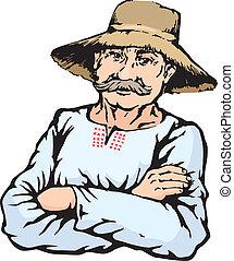 paja, granjero, sombrero, hombre, aldea