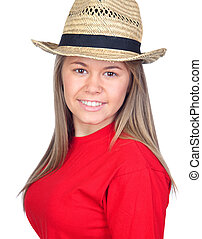 paja, niña, sombrero, adolescente